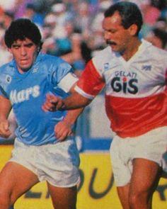 Diego Maradona against Leo Junior in 80s Serie A Napoli-Pescara by mundialstyle