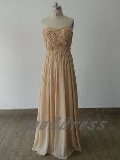Cheap Strapless Champagne White Flower Ruched Chiffon by gooddress, $105.99 Prom?