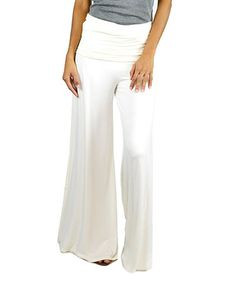 Another great find on #zulily! White Comfy-Chic Palazzo Pants #zulilyfinds