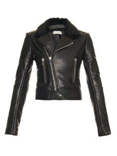 Shearling-collar leather biker jacket    Balenciaga   MATCHESFASHION.COM US