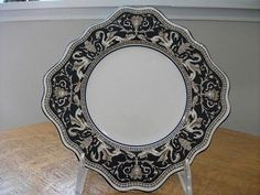 SIX Wedgwood Cobalt Florentine bone china square plates black mark W1956