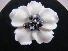 Glossy White Lucite Hibiscus and Hematite Bead by RubysPlace, $20.00