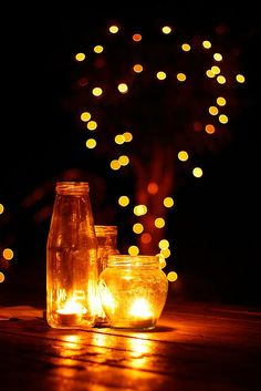 candles, fairy lights