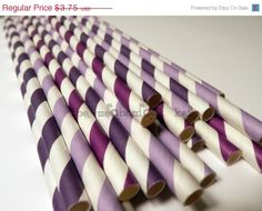 SUPERSALE 25 Ombre Purple Striped Straws Drink Flags by legoods, $2.59