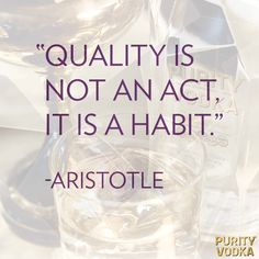 Quality is not an act, it is a habit - Aristotle.