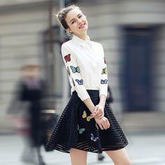 2017新しいファッションエレガントなシフォン作物のトップスとスカートツーピース扮ドレス刺繍プリントカジュアルvestidos