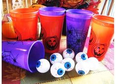 Kids Halloween Party Fun / eyeball toss and other games