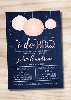I Do BBQ Paper Lantern Navy Blush Rehearsal Dinner Invitation - Printable digital file or printed invitations Rehearsal Dinner Decorations, Rehearsal Dinner Invitations, Brunch Invitations, Wedding Rehearsal, Rehearsal Dinners, Custom Invitations, Wedding Invitation, Invite, I Do Bbq