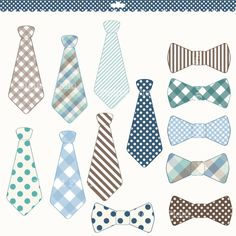 Blue, green and brown necktie and bow tie clip art set - 13 high quality (300 dpi) PNG printable digital elements perfect for scrapbooking, card making, invitations, graphic design etc.  All elements are on a transparent background so you can use them as graphics in most programs.  Personal and small commercial use for your crafting and creative projects.  Watermark will not appear on your images.  Please note that colors may slightly vary due to your monitor settings.    This is a digital…