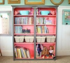 One color on the inside with another on the outside.  Cute for a bookshelf.