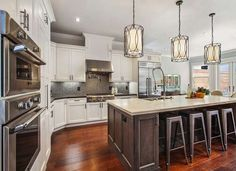 Great pendant lights over the kitchen island
