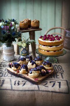 Raspberry, Pistachio and Rose Cake Pear, Vanilla and Smoke Cakes Earl Grey Profiteroles with Dark Chocolate & Tonka Glaze and Honeyed Figs