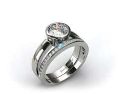 14k White Gold Bezel Set Round Diamond Solitaire Ring & .63ct Channel Set Wedding Ring