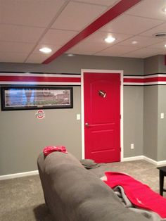Painted room grey red white black rooms pinterest gray room and bedrooms for Ohio state bedroom paint ideas