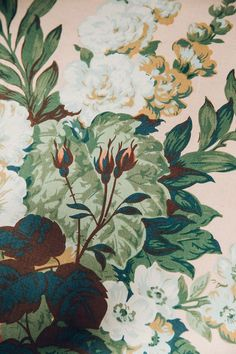 old fashioned floral wallpapers and textiles are always classic. #pink #green #white