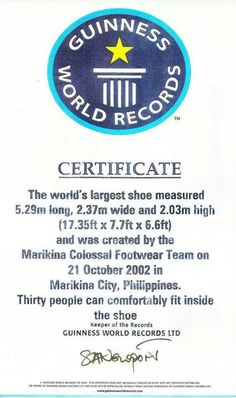 Our expert shoe maker sapatero all about us pinterest guinness world records ltd certificate awarded to the marikina colossal footwear team on october 21 stopboris Choice Image