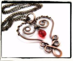 Copper Filigree Heart  Pendant with Red Czech Teardrop #jewelry #etsy #wirewrap #heart