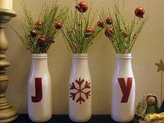Joy Bottles {Handmade Decor Roundup at lifeyourway.net}