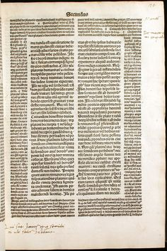 Text surrounded by commentary.  Augustine, De civitate Dei (1489).  University of Oklahoma Libraries, Bizzell Bible Collection
