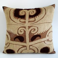 Sukan / Vintage Hand Embroidered Suzani Pillow Cover by sukan, $79.95