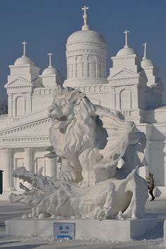 In Harbin China they have an Ice and Snow festival. This is a life size building. Artists come from around the World to create art out of ice.