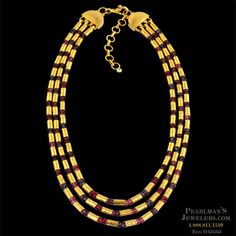 Gurhan 24k mixed stone yellow gold necklace from Pearlman's Jewelers