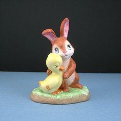 Vintage Lefton Figurine Bunny Hugging Baby Duck, ,Circa 1970-80 Rabbit and Duck #02347