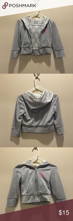Gray hooded cropped jacket with lace lining Have been worn few times. In great condition. Jackets & Coats