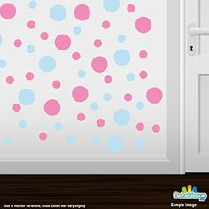 Set of 30  Circles Polka Dots Vinyl Wall Graphic Decals Stickers Baby Blue  Pink ** You can find more details by visiting the image link.Note:It is affiliate link to Amazon.