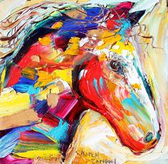 Original Equine Horse palette knife painting oil impasto on canvas impressionism fine art by Karen Tarlton. $45.00, via Etsy.