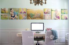 For a long wall: a common color palette, uniform height with frameless photos in a ribbon display that stretches beyond the furniture beneath it