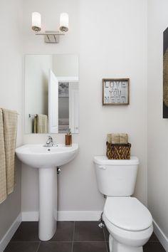 Half bath with pedestal sink Pedestal Sink, Half Baths, Home Builders, New Homes, House Design, Street, New Home Essentials, Roads, Architecture Illustrations