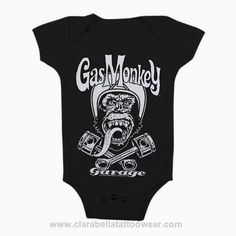 Biker Gas Monkey Garage - Baby Body  Biker Gas Monkey Garage - Baby Body         Pre-shrunk 100% cotton (will shrink slightly when dried)   Double-needle stitched neckline, bottom hem and sleeves     Price: €19.90  http://www.clarabellatattoowear.com/kids-baby/baby-body/gas-monkey-garage/biker-gas-monkey-garage-baby-body/   Don't you adore promotions? Don't miss out! Get YOUR super nice 15% discount code: http://eepurl.com/boSy7H