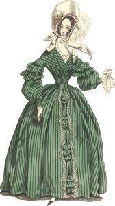 PELISSE. Prenda de abrigo de mangas enormes empleada por las damas hacia el 1828.
