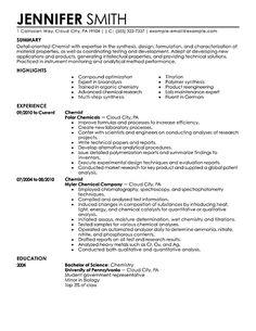 Resume Templates Science Resume Templates Resume Examples Resume Tips Chemist