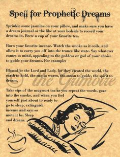 Spell for Prophetic Dreams, Psychic Power, Book of Shadows Pages, BOS Pages, in Collectibles, Religion & Spirituality, Wicca & Paganism   eBay