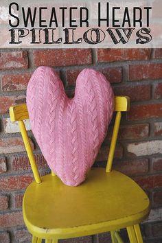 eighteen25: Sweater Heart Pillows