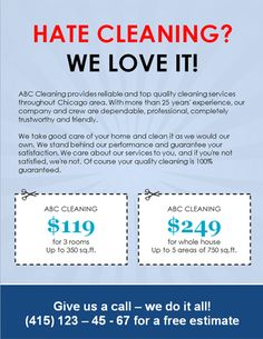 House cleaning flyer sample