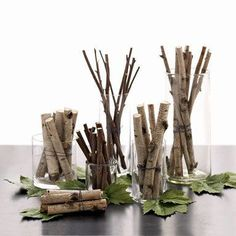 Group cut sticks of various widths in a host of cylindrical vases for a minimalist centerpiece.