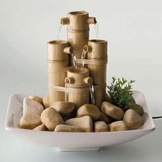 Idéias das fontes do tabletop – Interior Design Projects Small Fountains, Indoor Water Fountains, Indoor Fountain, Garden Fountains, Indoor Waterfall Fountain, Bamboo Fountain, Table Fountain, Feng Shui, Diy Water Feature
