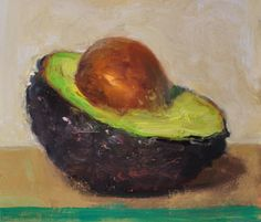 a painting a day: Halved Avocado, 7/22/2015