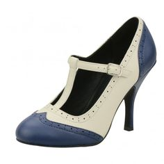 T.U.K. Shoes Navy & Cream Wingtip T-Strap Bombshell Heels - Image 1 of 4