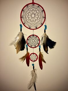 Sacred Geometry is the basic fundamental building blocks of our universe. Healing can be facilitated and meditation enhanced by using energy from sacred geometric forms. Handcrafted Sacred Geometry Dream Catcher. This dream catcher has been handcrafted with detail and care. Roughly 2 feet in length. Can make to order in different sizes and colors. If you have any questions or requests please feel free to message me! -Namaste-