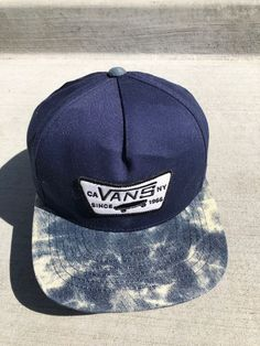 Vans Flat Brim Blue Hat Cotton Blend Rare Free Shipping Snapback Cap Lid  Supreme  fashion 1ea006c273ed