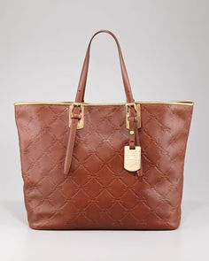 LM Cuir Large Tote Bag, Oak Brown by Longchamp at Neiman Marcus!! Please may I have that?