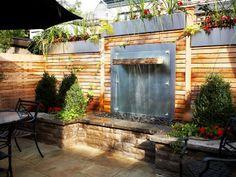 Patio, water feature Water Features, Ontario, Aquarium, Garage Doors, Patio, Landscape, Outdoor Decor, House, Outdoors