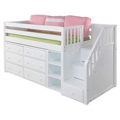Everything imaginable for your child's room! Kids furniture is our business and we have an unrivaled collection. Find high-quality furniture, art, bedding, decor and rugs at Rosenberry Rooms! Bunk Beds With Stairs, Kids Bunk Beds, Bed Stairs, Loft Staircase, Loft Storage, Extra Storage, Low Loft Beds, Bed Plans, Cool Beds