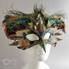 Leather bird mask & crown set.