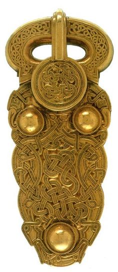 A gold buckle found in the Sutton Hoo excavations, Angle-Saxon, 6th or 7th century, Sutton Hoo, Woodbridge, Suffolk.
