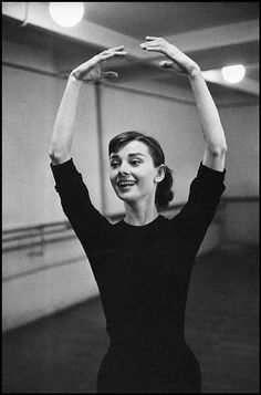 Audrey Hepburn | In preparation for Funny Face in which she would dance with her idol, Fred Astaire, 1956.
